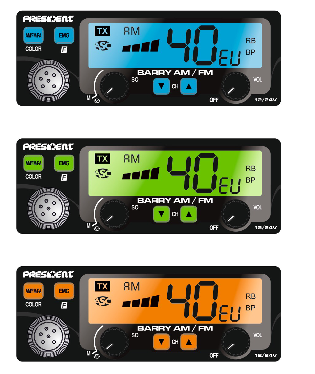 President BARRY II AM/FM  7-COLOR DISPLAY